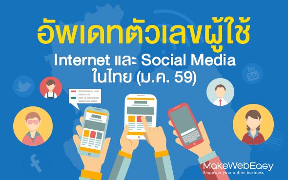 อัพเดทตัวเลขผู้ใช้ Internet และ Social Media ในไทย (ม.ค. 59)