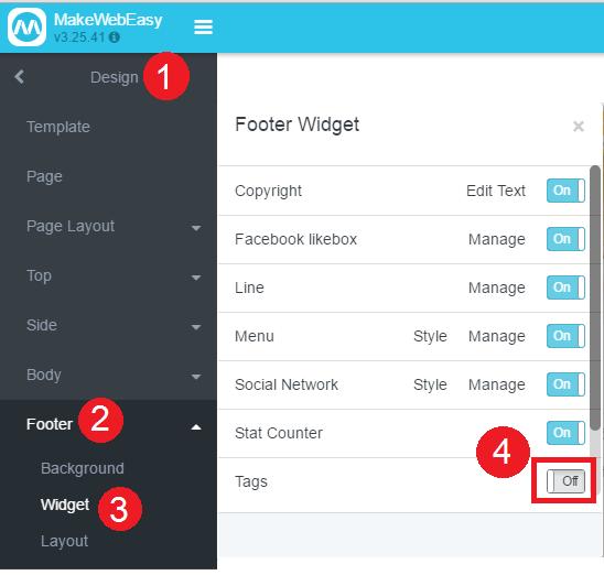 วิธีการจัดการ Widget เมนู Footer 3