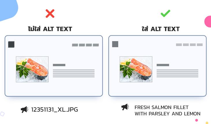 โปรแกรม Screen Reader จะอ่านรูปที่ไม่มี Alt Text เป็นชื่อไฟล์
