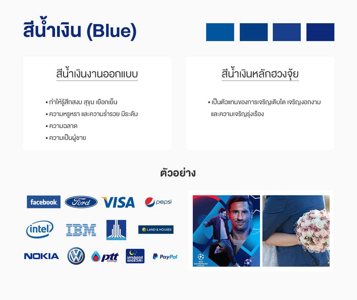 สีน้ำเงินออกแบบกับสีน้ำเงินฮวงจุ้ย