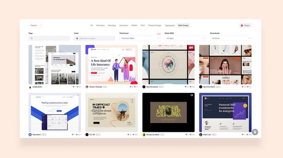 ไอเดียออกแบบเว็บไซต์ใน Dribbble