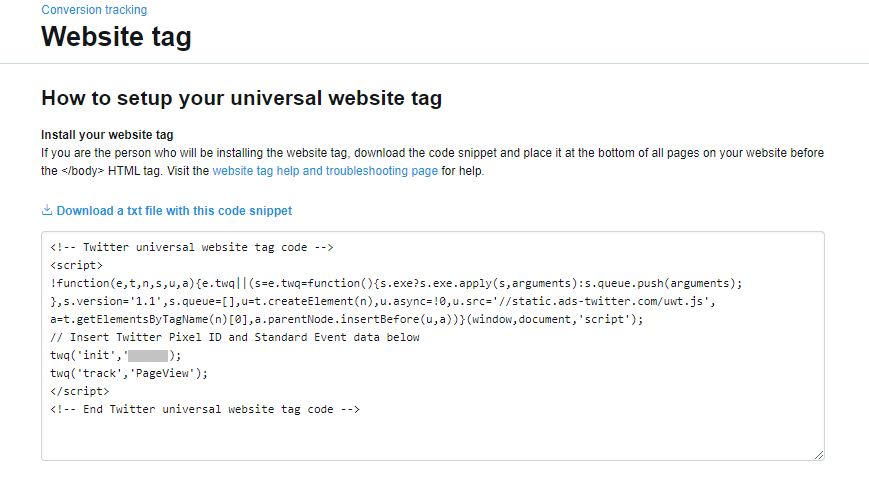 twitter website tag code